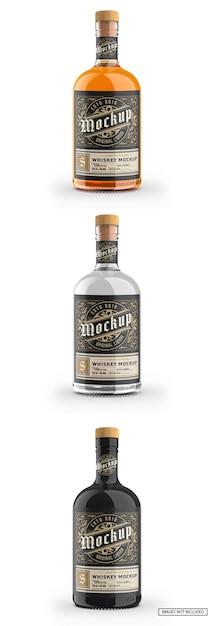 Bouteille En Verre Transparent Avec Maquette De Whisky PSD Premium