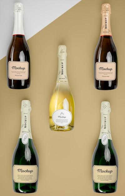 Bouteilles De Champagne Avec Maquette PSD Premium