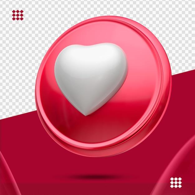 Bouton Rouge Avec Coeur Blanc Comme Icône Droite 3d Isolé PSD Premium