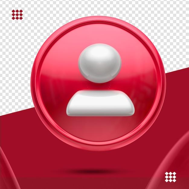 Bouton Rouge Avec Suiveur Blanc Comme Icône Avant 3d Isolé PSD Premium