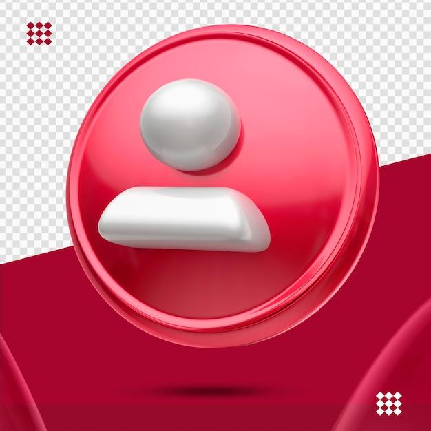 Bouton Rouge Avec Suiveur Blanc Comme Icône Droite 3d Isolé PSD Premium
