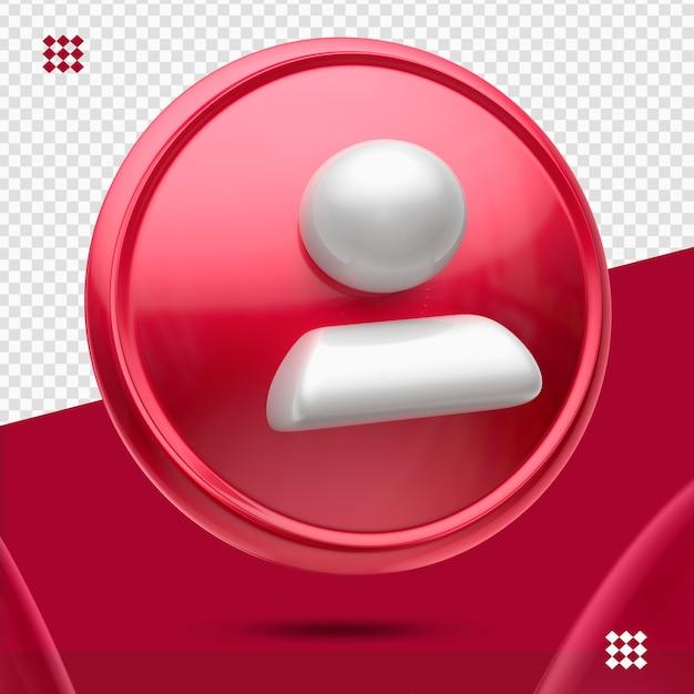 Bouton Rouge Avec Suiveur Blanc Comme Icône De Gauche 3d Isolé PSD Premium