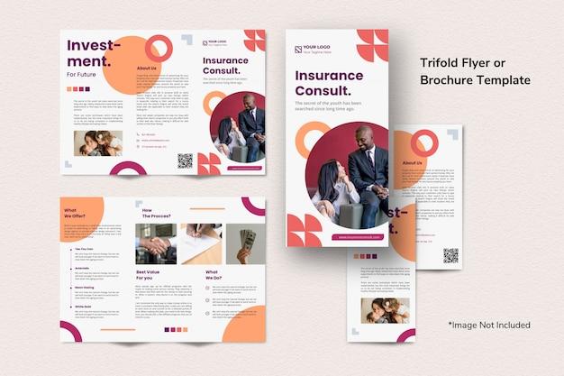 Brochure D'investissement Creative Finance Modèle à Trois Volets Simple Propre Abstrait Memphis PSD Premium