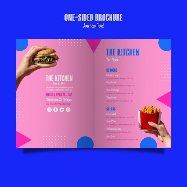 Brochure de menu de cuisine unilatérale Psd gratuit