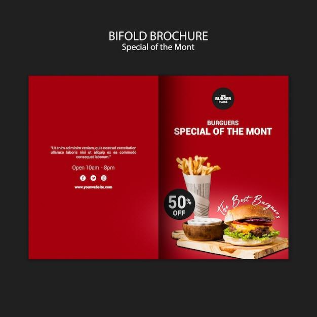 Brochure Pliante Pour Restaurant Burger Psd gratuit
