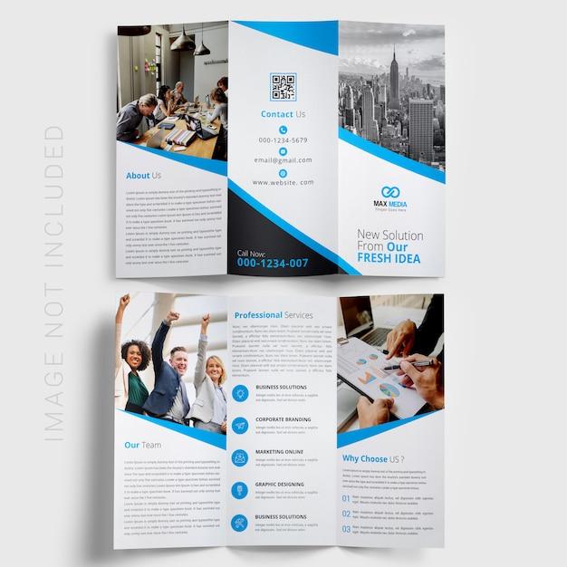 Brochure à trois volets bleue PSD Premium