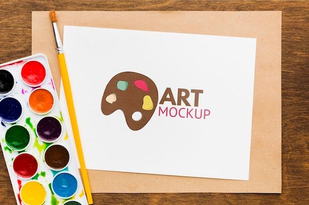 Bureau D'artiste Vue Ci-dessus Avec Pinceau Psd gratuit