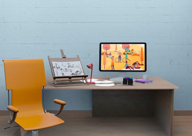 Bureau avec maquette et dessin artistique Psd gratuit