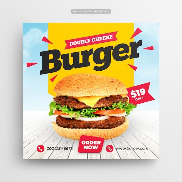 Burger fast food restaurant réseaux sociaux poster et bannière web PSD Premium