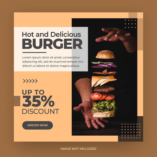 Burger Food Menu Instagram Et Modèle De Bannière De Publication De Médias Sociaux PSD Premium