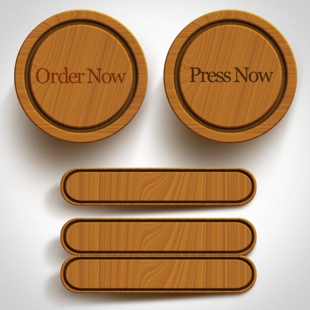 Buttons Collection En Bois Psd gratuit