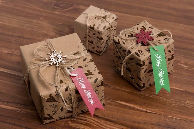 Cadeaux De Noël à Angle élevé Psd gratuit