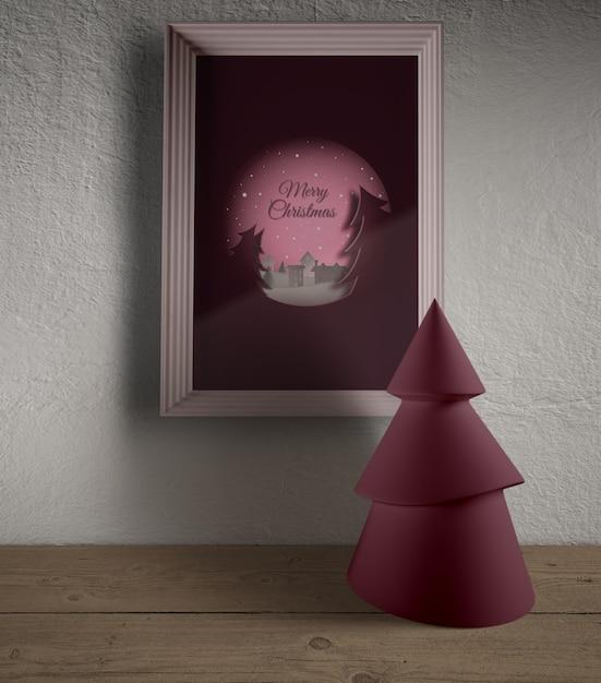 Cadre Accroché Au Mur Avec Une Miniature De Noël Psd gratuit