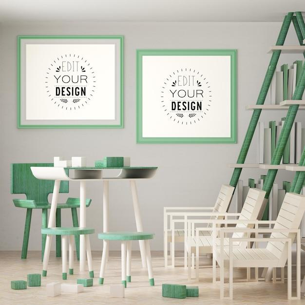 Cadre D'affiche Dans Le Salon Mockup Psd Psd gratuit