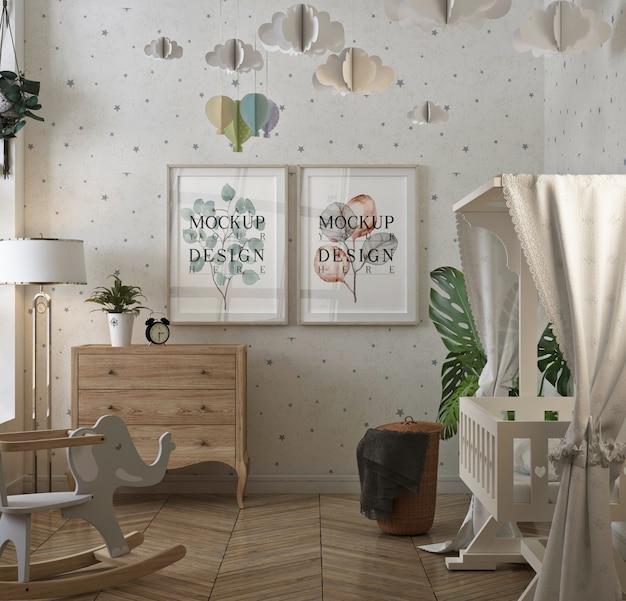 Cadre D'affiche De Maquette Dans La Chambre De Bébé Classique PSD Premium