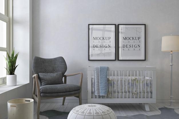Cadre D'affiche De Maquette Dans La Chambre De Bébé Gris PSD Premium