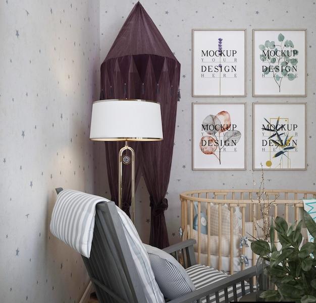 Cadre D'affiche De Maquette Dans La Chambre De Bébé Moderne PSD Premium
