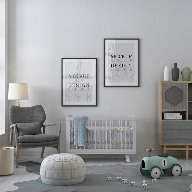 Cadre D'affiche De Maquette Dans La Chambre D'enfant Blanche Contemporaine PSD Premium