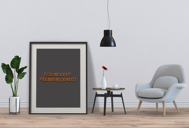 Cadre d'affiche maquette dans le salon et la chaise, rendu 3d PSD Premium