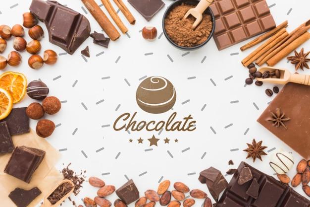 Cadre De Chocolat Sucré Avec Maquette De Fond Blanc Psd gratuit