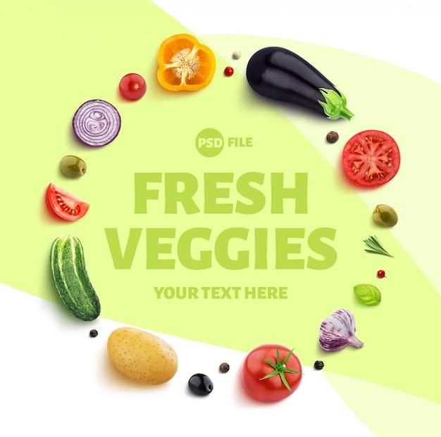 Cadre composé de différents légumes, herbes et épices avec un modèle d'espace de copie PSD Premium