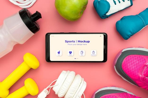 Cadre D'équipement De Sport Avec Téléphone Psd gratuit
