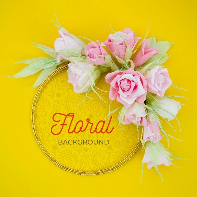 Cadre Floral Artistique Maquette Avec Message Positif Psd gratuit