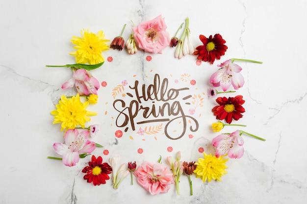 Cadre Floral Créatif Bonjour Printemps Psd gratuit