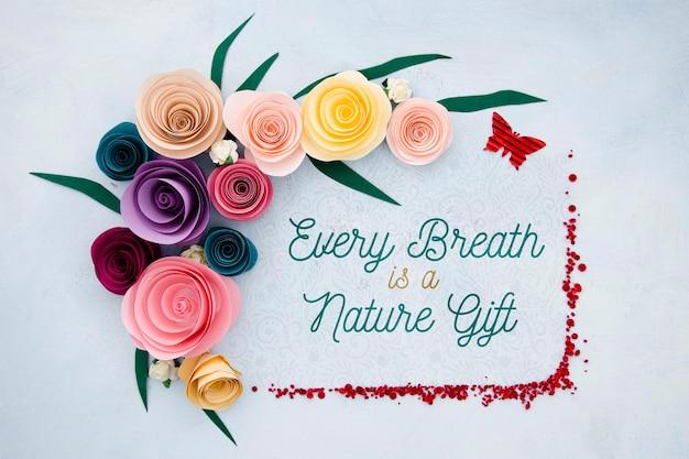 Cadre Floral Avec Message Positif Psd gratuit