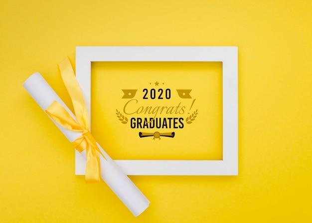Cadre De Graduation Vue De Dessus Avec Maquette Psd gratuit