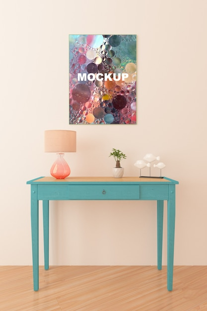 Cadre maquette au dessus de la petite table Psd gratuit