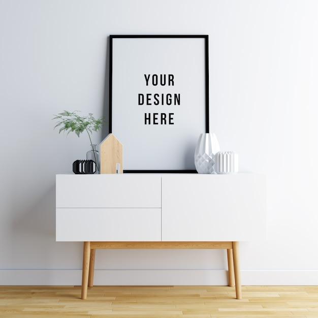 Cadre de maquette pour affiche avec décorations PSD Premium