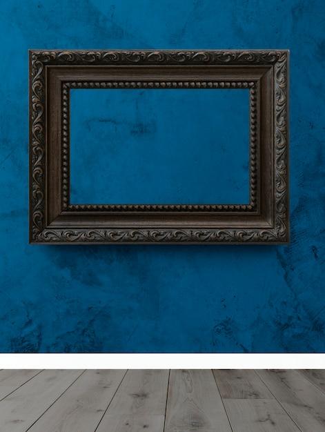 Cadre sur un mur bleu PSD Premium