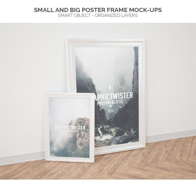 Cadre petites et grande affiche des maquettes Psd gratuit