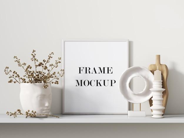 Cadre Photo Blanc à Côté De La Maquette De Rendu 3d D'accessoires Intérieurs PSD Premium