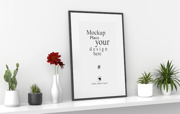 Cadre Photo Vierge Maquette En Fond De Mur Blanc, Modèle Psd PSD Premium