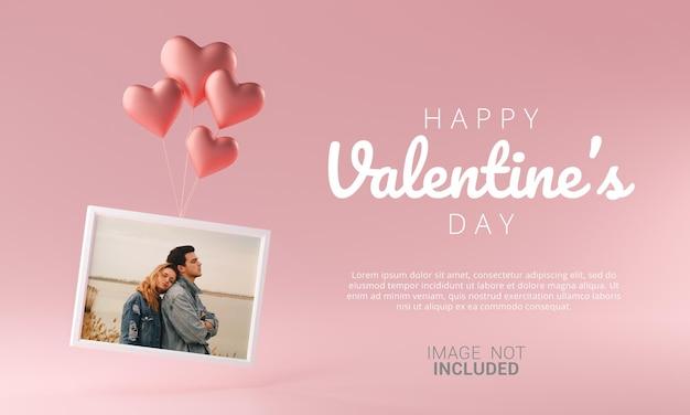 Cadre Photo Volant Avec Modèle De Maquette Ballon Coeur Amour Bannière Saint Valentin Heureuse PSD Premium