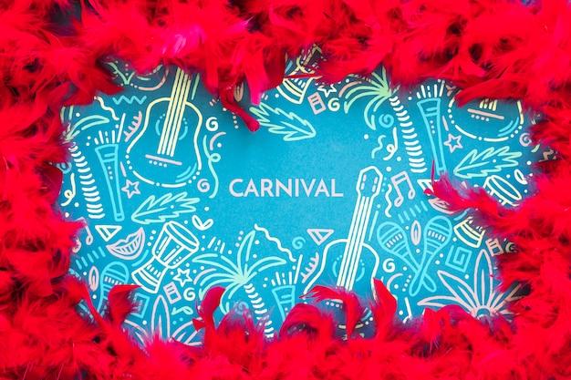 Cadre De Plumes De Carnaval Brésilien Psd gratuit
