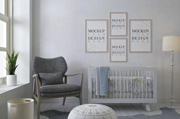 Cadres D'affiche De Maquette Dans La Chambre De Bébé Blanc PSD Premium