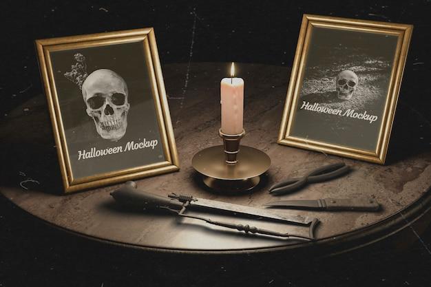 Cadres gothiques halloween avec des équipements de torture Psd gratuit