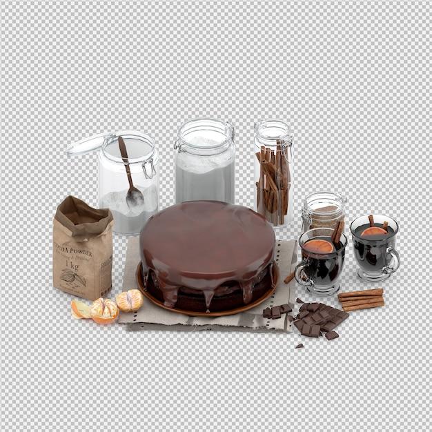 Cake 3d rendu isolé PSD Premium