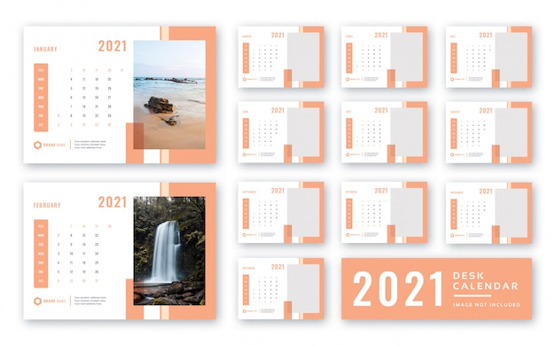 Calendrier De Bureau 2021 PSD Premium