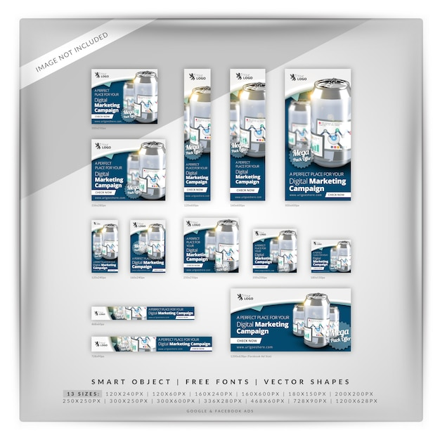 Can business marketing google banner set PSD Premium