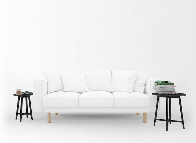 Canapé Blanc Réaliste Avec Petites Tables Isolé Sur Blanc Psd gratuit