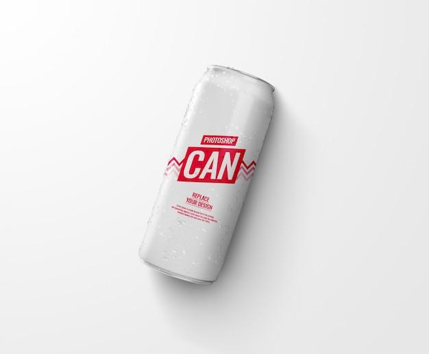Canette De Soda Mince Sur Maquette De Plancher Réaliste PSD Premium