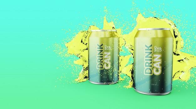 Canette De Soda Personnalisable De Qualité Supérieure Avec Des Maquettes D'éclaboussures D'eau PSD Premium