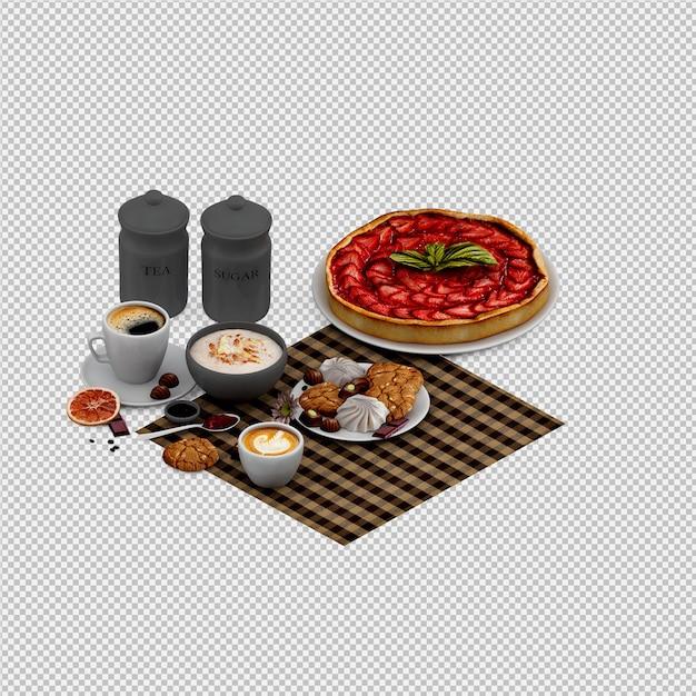 Cappuccino chaud et desserts rendu 3d isolé PSD Premium