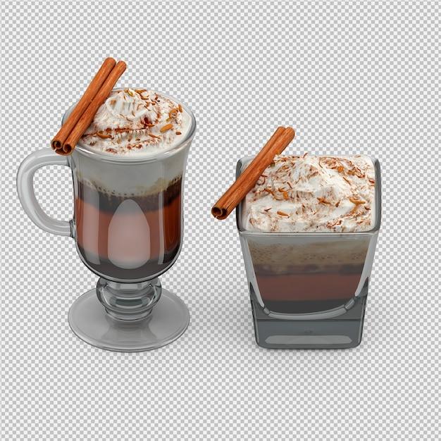 Cappuccino chaud rendu 3d isolé PSD Premium