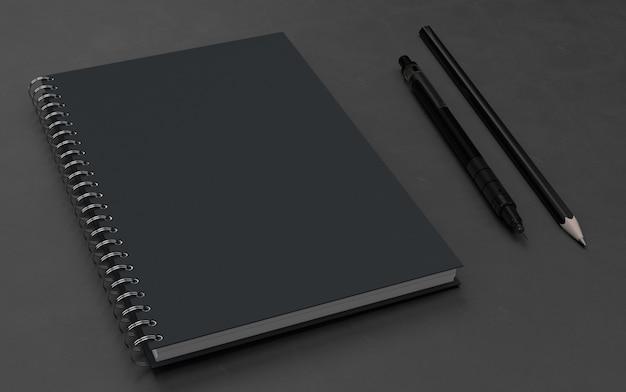 Carnet de notes avec maquette de stylo PSD Premium