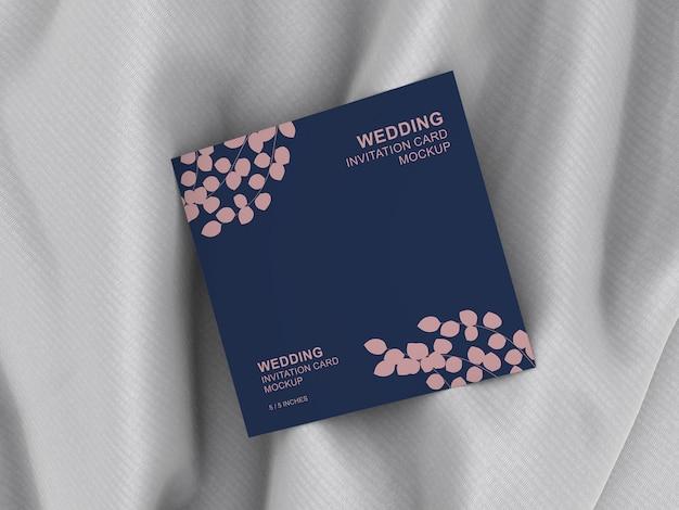 Carte carrée élégante carte d'invitation mariage maquette PSD Premium